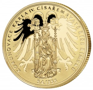 Pamětní medaile k 660. výročí korunovace Karla IV. císařem - líc, vyadaná Národní Pokladnicí