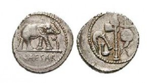 Historická mince z dob Julia Cesara