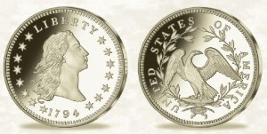 Replika Flowing Hair Liberty Dollar z roku 1794