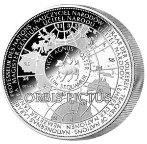 Základem kompozice reversu je zeměkoule z Komenského díla Orbis Pictus.